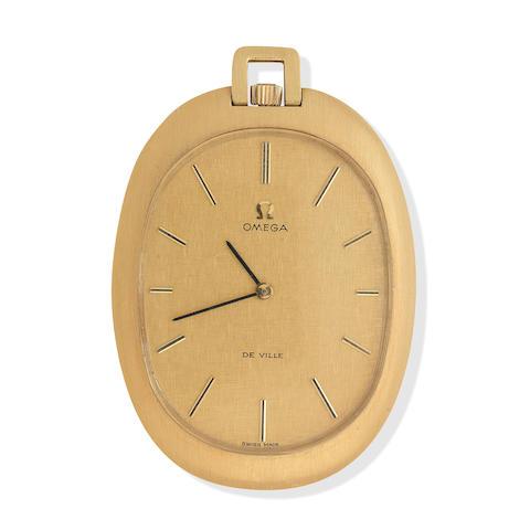 An Omega 18ct gold open face keyless pocket watch De Ville, 1970s