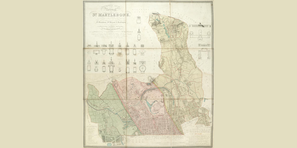 LONDON - MARYLEBONE BARTLETT (J.A.) AND JOHN BRITTON. Topographical Survey of the Borough of St. Marylebone, as Incorporated & Defined by Act of Parliament 1832. Embracing & Marking the Boundaries of the Parishes of St. Marylebone, St. Pancras & Paddington, J. Britton, 25 June 1834