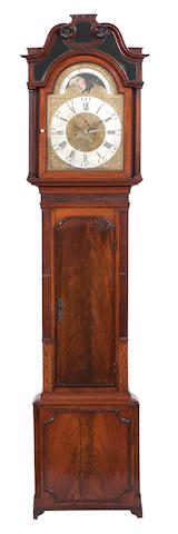 A George III mahogany and inlaid long case clock Engraved to the dial Arch 'Thomas Brown Chester'