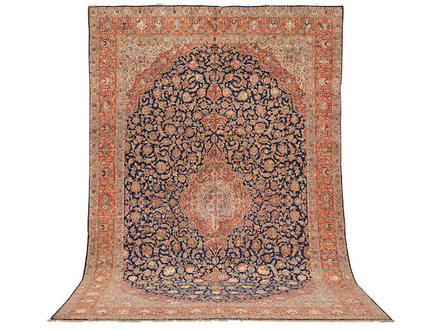 A part silk Kashan,  Central Persia, 577cm x 375cm