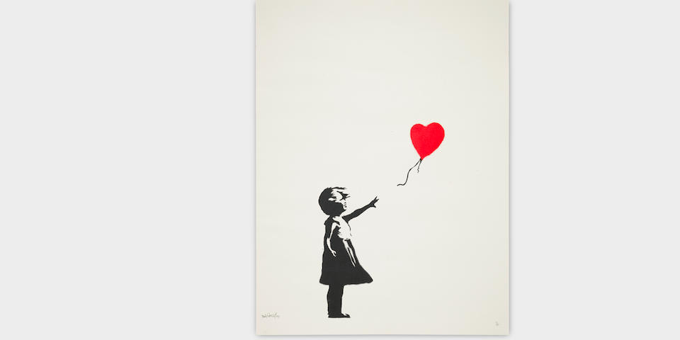 Banksy (British, born 1975) Balloon Girl Screenprint in black and red, 2004, on wove paper, signed, dated and numbered 91/150 in pencil, published by Pictures on Walls, London, with their blindstamp, the full sheet, in good condition  Sheet 653 x 592mm.