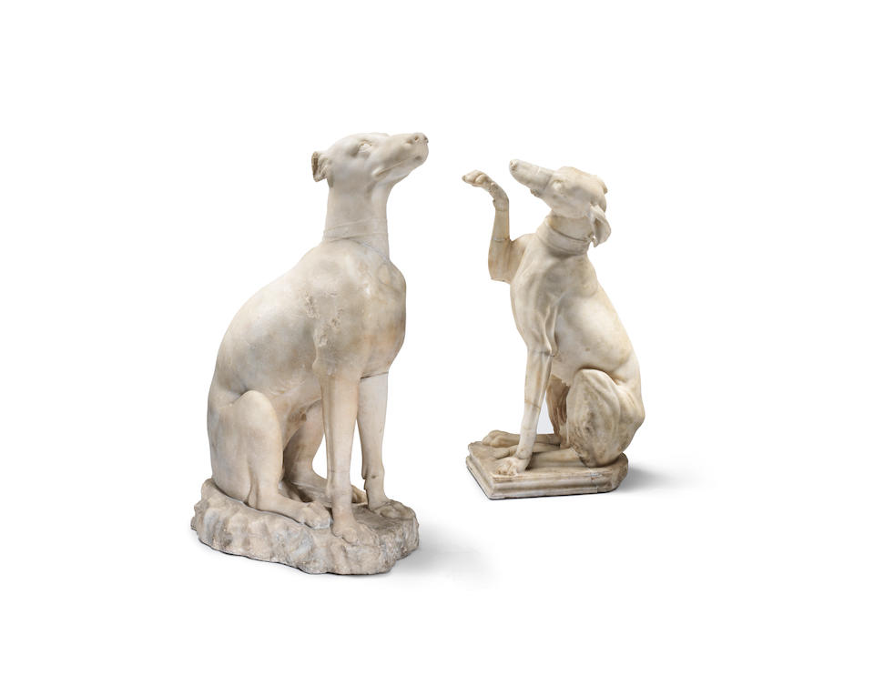 Two Roman marble figures of Celtic hounds  2