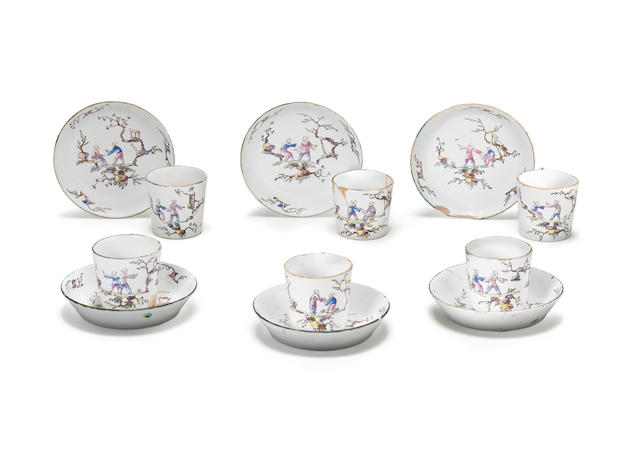 A set of six Marseilles, Veuve Perrin's factory, cups and saucers Circa 1770