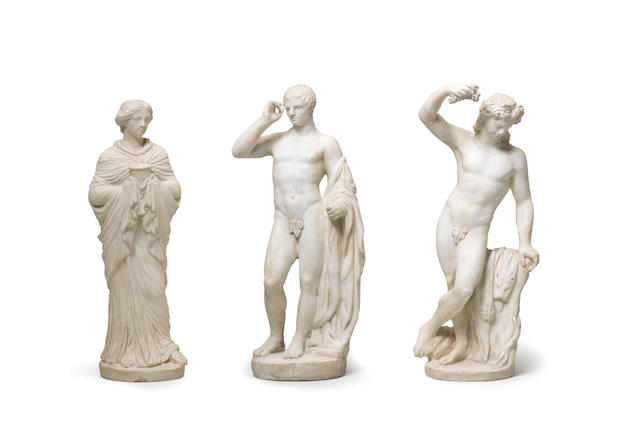 Three Italian biscuit figures Late 18th/early 19th Century