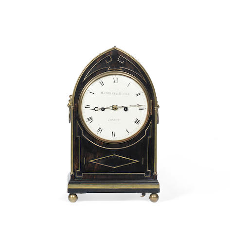 An early 19th century coromandel and brass bound twin fusee bracket clock the dial signed Hadley & Moore, London