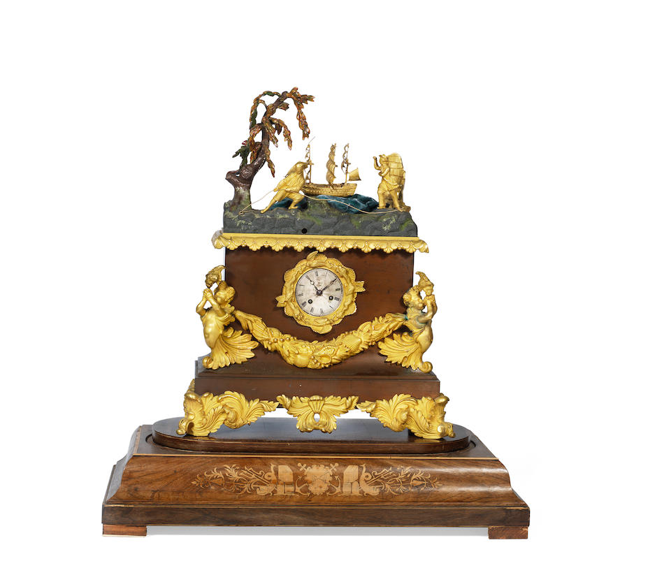 A mid 19th century French gilt bronze mounted inlaid rosewood and stained wood novelty marine automaton musical mantel clock