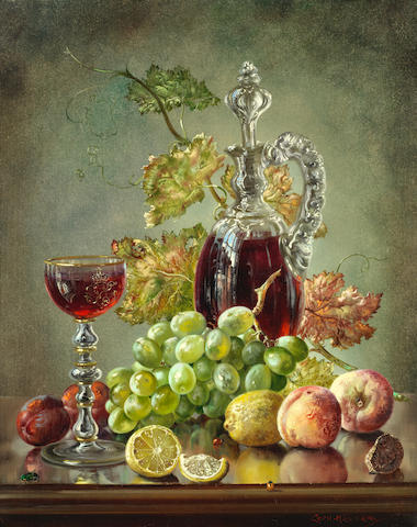 Cecil Kennedy (British, 1905-1997) Still life of fruit, vine leaves and a glass ewer