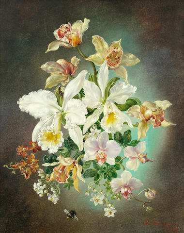Cecil Kennedy (British, 1905-1997) Still life of flowers and a bumblebee