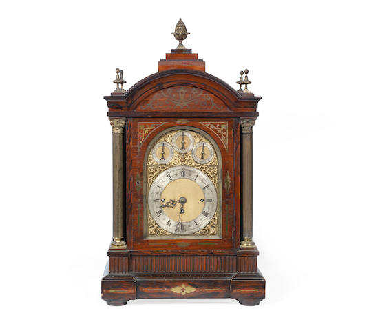 A late 19th century rosewood and brass mounted and inlaid triple fusee chiming bracket clock