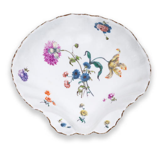 A Meissen shell shaped dish Mid 18th Century