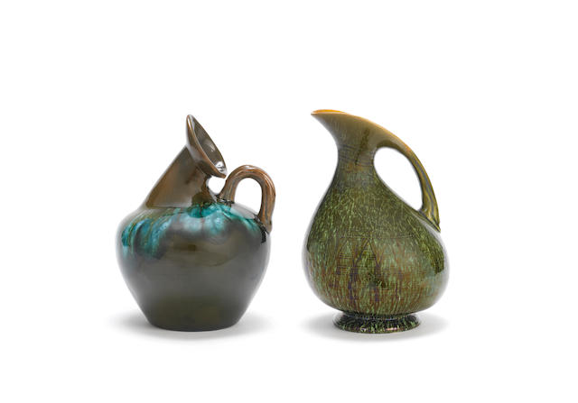 Dr. Christopher Dresser (British, 1834-1904) for Linthorpe Pottery Two Ewers, circa 1880