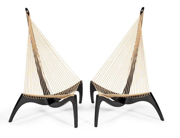 Jørgen Høvelskov (Danish, 1935-2005) for Jørgen Christensen Pair of 'Harp' Easy Chairs, designed in 1963