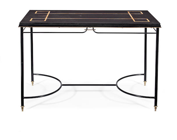 Jacques Adnet (French, 1900-1984) A Patinaited Brass and Inlaid Marble Side Table, circa 1950