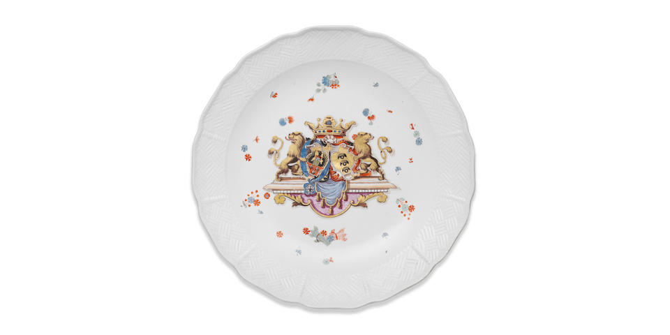 A rare Meissen large dish from the Sulkowski Service, circa 1735-38