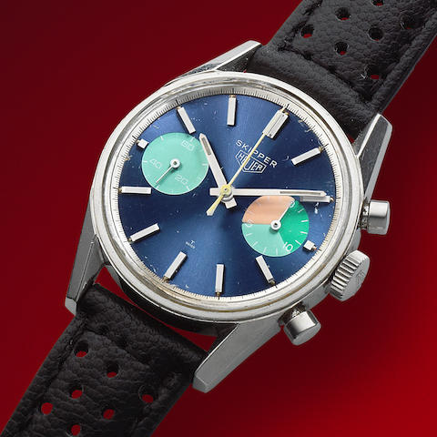 "Heuer. A rare stainless steel manual wind chronograph wristwatch  Skipper ""Skipperera"", Ref: 7753, Circa 1970"