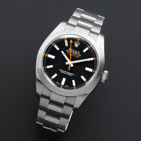 Rolex. A stainless steel automatic antimagnetic bracelet watch  Milgauss, Ref: 116400, Sold 19th December 2008