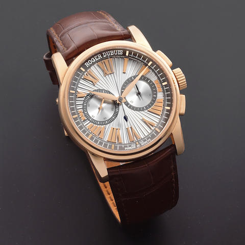 Roger Dubuis. An 18K rose gold automatic chronograph wristwatch  Hommage, Ref: DBHO0569, Sold 15th November 2017