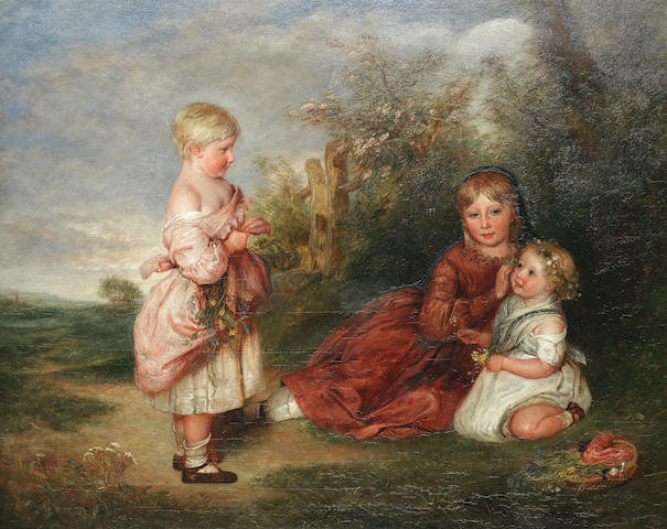Charles West Cope (British, 1811-1890) Portrait of Margaret, May, and Emily Atkinson