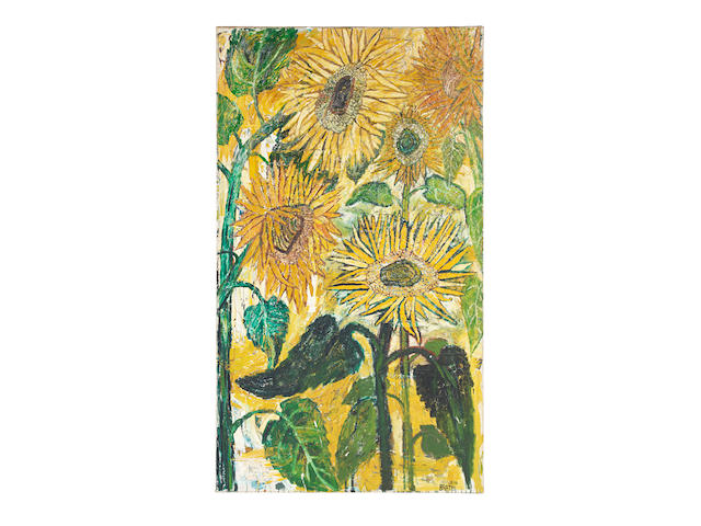 John Bratby (British, 1928-1992) Sunflowers oil on canvas signed 'JOHN/BRATBY' (lower right) and inscribed 'SUNFLOWERS' (on the stretcher) (unframed)