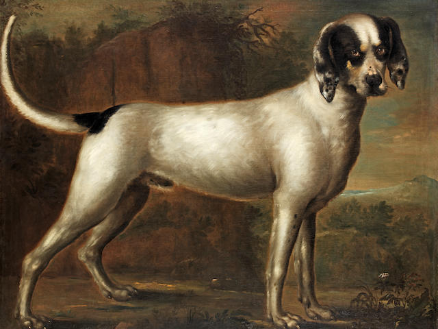 Attributed to John Wootton (Snitterfield circa 1682-1764 London) Portrait of a noble hound (Provenance: Earls of Antrim, Glenarm Castle.)