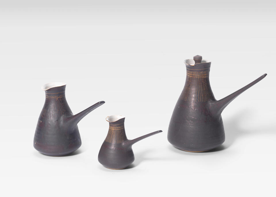 Dame Lucie Rie (British/Austrian 1902-1995) A Coffee Pot with Lid, circa 1955