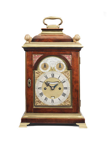 A late 18th century Brass Mounted Fruitwood table clock William Allam, London