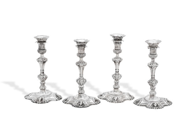 A set of four George III Irish silver candlesticks By Charles Townsend, Dublin circa 1765