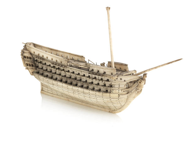 An early 19th Century Napoleonic French Prisoner-of-War bone model ship's hull, circa 1815
