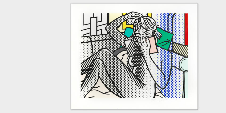 Roy Lichtenstein (American, 1923-1997) Nude Reading, from Nudes series Relief print in colours, 1994, on Rives BFK paper, signed, dated and numbered 59/60 in pencil (there were also twelve artist's proofs), published by Tyler Graphics, Ltd., Mount Kisco, New York, with their blindstamp, the full sheet, in very good conditionImage 606 x 768mm. (23 7/8 x 30 1/4in.); Sheet 775 x 921mm. (30 1/2 x 36 1/4in.)
