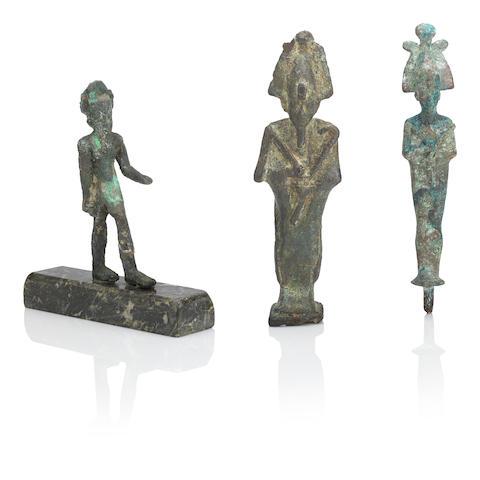 THREE EGYPTIAN BRONZE FIGURES 3