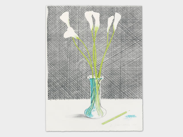 David Hockney (British, born 1937) Lillies Lithograph in colours, 1971, on Arches paper, signed, dated and numbered 16/25 in pencil, printed at Curwen Studios, London, published by Galerie Wolfgang Ketterer, Munich, the full sheet, in very good conditionSheet 650 x 505mm. (25 5/8 x 19 7/8in.)