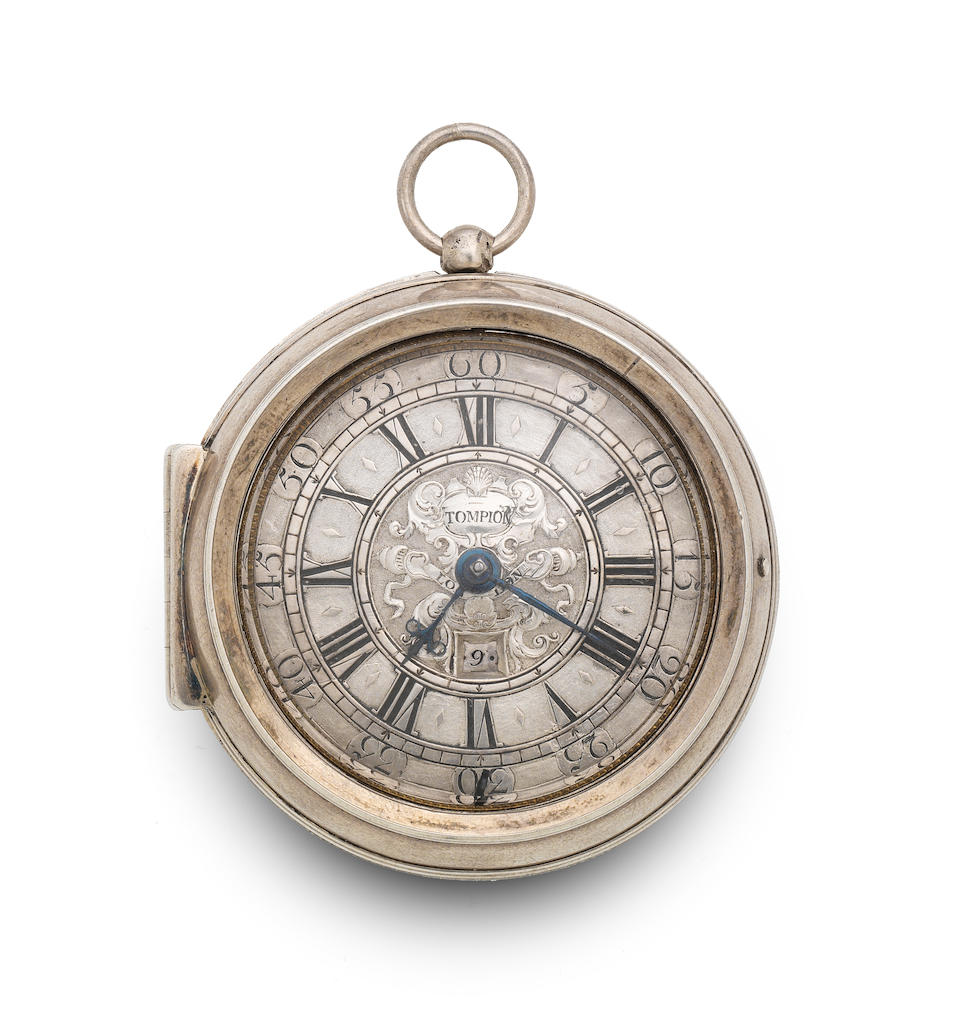 THOMAS TOMPION, LONDON. AN EARLY SILVER KEY WIND VERGE PAIR CASE POCKET WATCH WITH DATE NO. 4481 Circa 1715