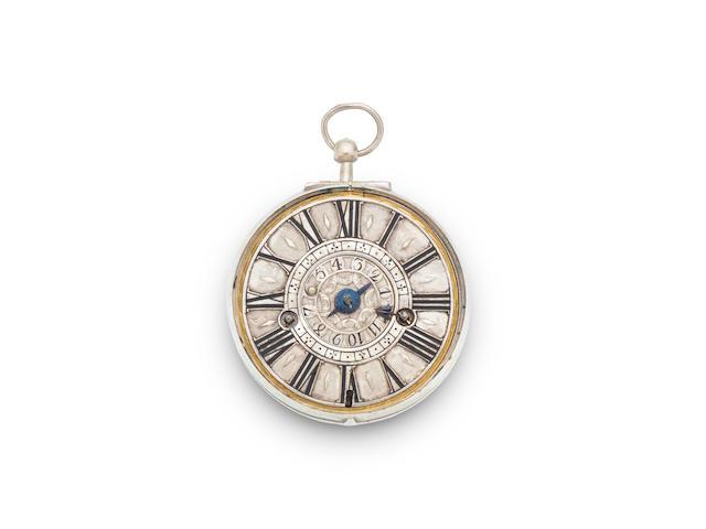 Edward Banger, London. A fine and rare silver pair cased alarm watch, circa 1720