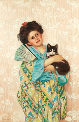 Charles Spencelayh, RMS, HRBSA (British, 1865-1958) A Japanese beauty