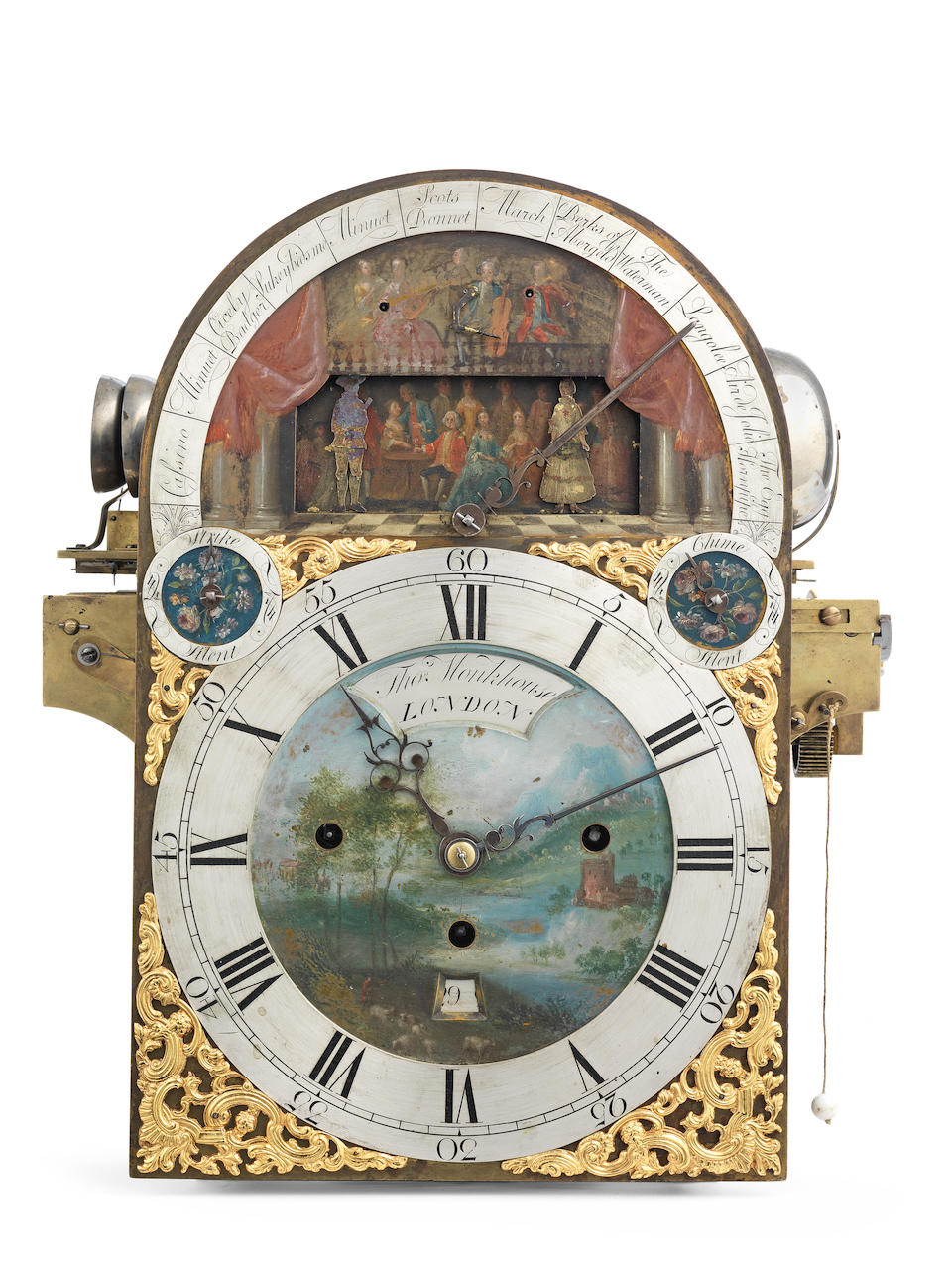 A rare mid 18th century double automata twelve-tune musical table clock on 24 hammers and 12 bells Thomas Monkhouse, London