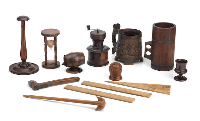 A collection of various 19th century Treen wares  (For full description please visit www.bonhams.com )
