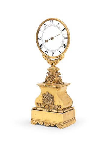A rare late 19th century French gilt brass mystery clock Attributed to Eugene Robert Houdin