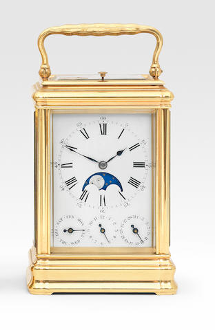 A good late 19th century French grande sonnerie striking carriage clock with moonphase and calendar Drocourt, number 27736