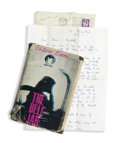 """PLATH (SYLVIA) The Bell Jar. By Victoria Lucas, FIRST EDITION, THE DEDICATEE'S COPY, Heinemann, [1963]; together with an autograph letter signed by Ted Hughes (""""Ted"""") to """"David & Elizabeth [Compton]"""", giving them permission to stay at Court Green, written from """"23 Fitzroy Road, N.W.1"""", one page, in original envelope stamped 31 March 1963 (2)"""