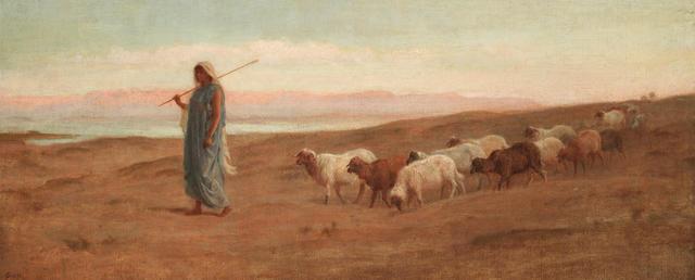 Frederick Goodall, RA (British, 1822-1904) Rachel and her flock
