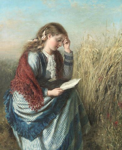 William Powell Frith, RA (British, 1819-1909) A girl reading in a cornfield
