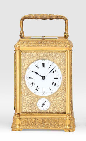 A good and rare third quarter of the 19th century French engraved gilt brass gorge cased carriage clock Paul Garnier, Paris, 3394 3