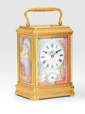 A good 19th century French engraved brass gorge cased carriage clock set with three pink porcelain panels and signed platform  The platform signed for the retailer, T.Martin & Co, 151 Regent St, London, finished and supplied by Drocourt 11232