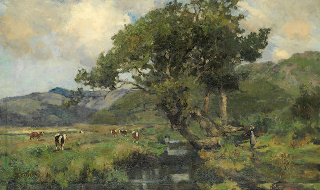 Bertram Priestman (British, 1868-1951) Cattle grazing in the river valley, a milkmaid on the way home