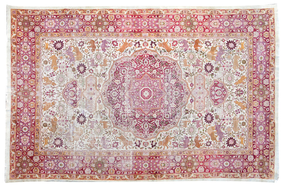 Two similar large Agra carpets 446 x 305cm, and 430 x 371cm