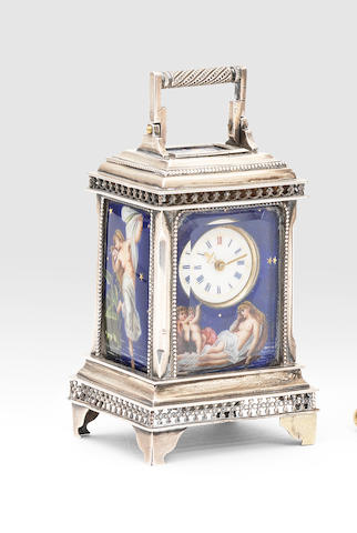 An early 20th century Swiss silver miniature carriage alarm timepiece with enamelled night scenes stamped Rau & Steinmeyer Geneve Pforzheim No:10964 1