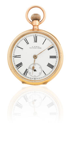 A 10ct gold Waltham open faced pocket watch