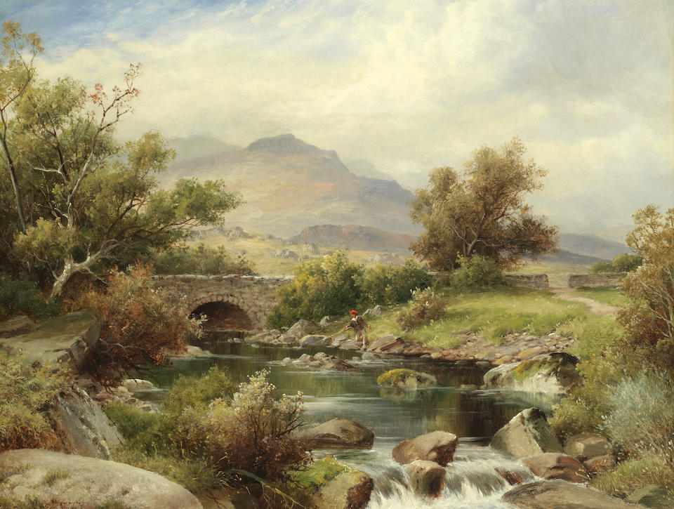 William Henry Mander (British, 1850-1922) River landscape with children on a bridge; Fishing in the Highlands, a pair each 36.2 x 45.7cm (14 1/4 x 18in).(2)