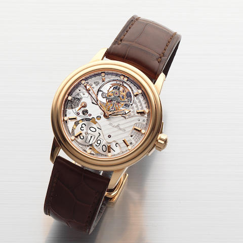 Blancpain. A very fine and rare 18K rose gold automatic semi-skeletonised tourbillon calendar wristwatch with 8 day power reserve  Léman, Edition No.10/50, Recent
