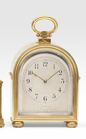 A good early 20th century French arched case striking carriage clock and alarm in original presentation case L Leroy & Cie, 7 Bd De La Madeleine, number 17894